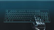 Futuristic Grey Cyborg Hand Pressing A Key On A Keyboard