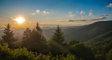Sunset NC Mountains Along Blue Ridge Parkway