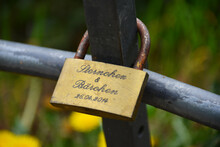 Hamburg, Germany - April 24, 2019: Close Up Of A Rusty Love Lock In Hamburg, Germany - This Ritual Is Believed By Couples To Make Their Relationship Stays Forever