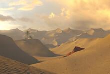 Sand Dunes. Golden Hour