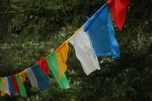 Tibetan Prayer Flags Blowing In The Wind