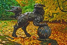 Foo Dog In An Autumn Coloured Arboretum