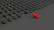 Leadership concept, red leader boat, standing out from the crowd of black boats, on black background. 3D Rendering