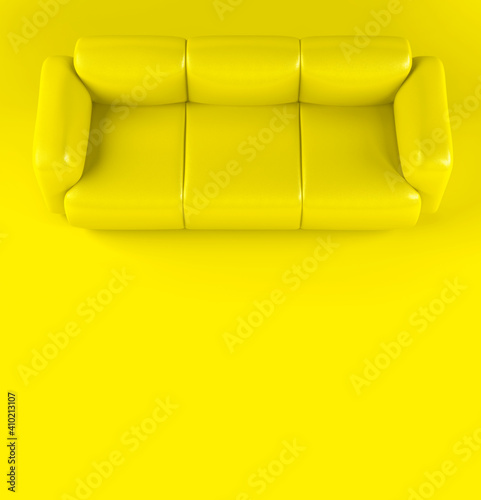 Yellow leather soft sofa on yellow background with shadow. Stylish cozy modern sofa made of genuine leather on wooden legs. Minimalistic interior room in yellow colors. Single piece of furniture © olgaarkhipenko