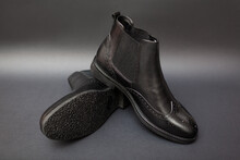 Shoes, Chelsea Leather Boots For Men. Male Winter, Autumn Or Spring Fashion. Footwear On Black Background. Sale