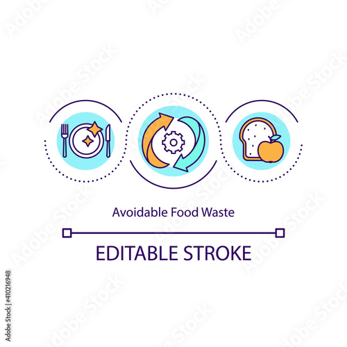 Obraz na plátne Avoidable food waste concept icon