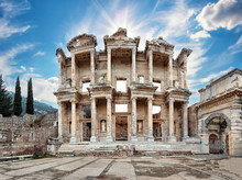 Facade Of Antique Library Of Celsus In Ephesus Under Bright Sun
