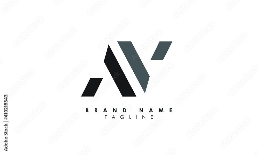 Fototapeta Alphabet letters Initials Monogram logo AV, VA, A and V