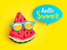 Hipster Watermelon In Orange Sunglasses Greeting Summer On Yellow Background. Welcome Banner For Hot Season. Hello Party, Fun And Picnics. Bright Poster With Exotic Fruit. Vector Illustration.