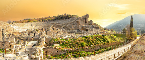 Fotografering Panorama of the Roman amphitheater in Ephesus city at sunset