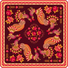 Shawl With Fabulous Birds, Red Roses And Paisley Border In Folk Style. Russian Motif.