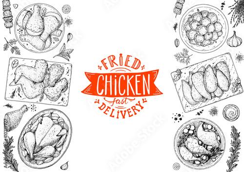Obraz Chicken meat. Grilled and Fried chicken. Hand drawn sketch illustration. Grilled chicken meat top view frame. Vector illustration. Engraved design. Restaurant menu design template. - fototapety do salonu