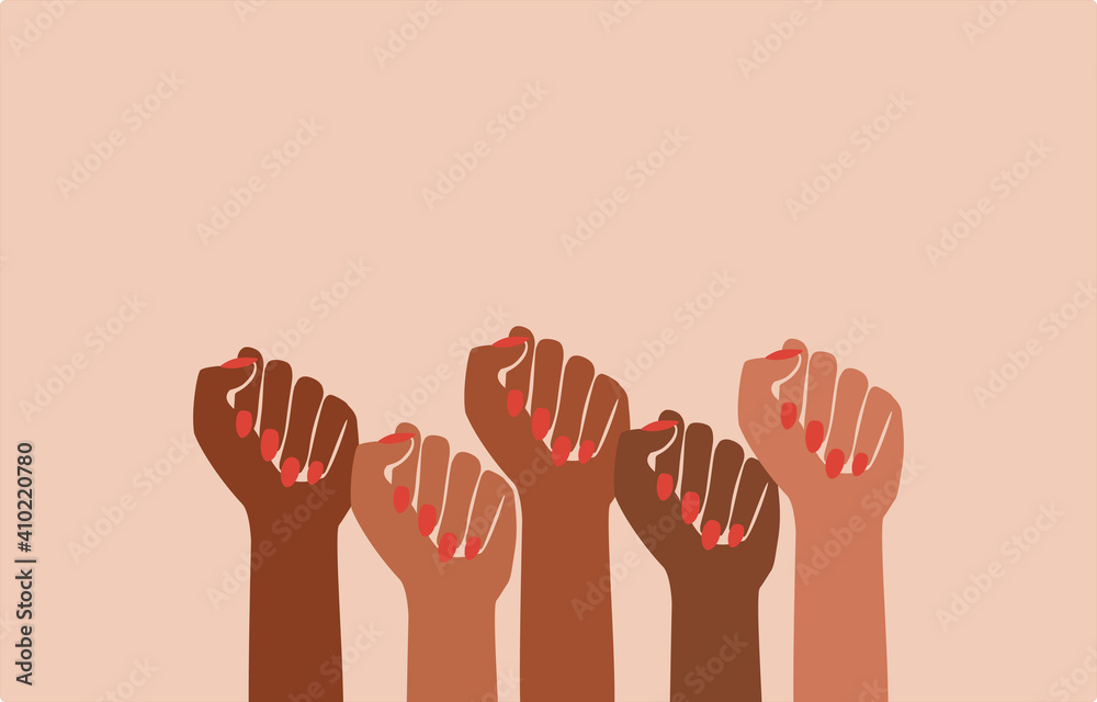 Fototapeta black fist people, brown power, black history month, female pride, black lives matter, feminist empowerment, hands raised, retro graphic design, red nail polish, strong women, girl power, poster card