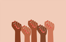 Black Fist People, Brown Power, Black History Month, Female Pride, Black Lives Matter, Feminist Empowerment, Hands Raised, Retro Graphic Design, Red Nail Polish, Strong Women, Girl Power, Poster Card