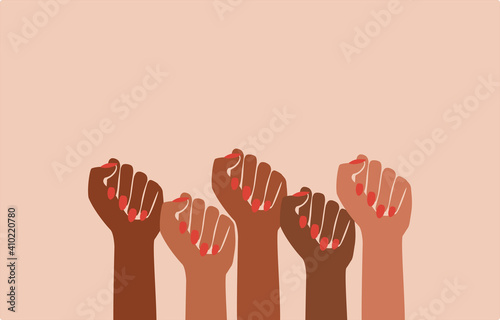 Photo black fist people, brown power, black history month, female pride, black lives m
