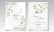 Floral wedding invitation template set with white flower and leaves decoration Premium Vector