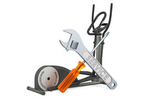 Service And Repair Of Elliptical Trainer, 3D Rendering