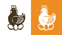 Chicken With Eggs. Hen Symbol Or Logo Vector