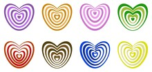 Colorful Heart Icon Set. Collection Of Decorative Purple, Orange, Pink, Green, Red, Brown, Blue And Yellow Symbols. Ornamental Love Signs.
