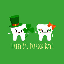 St Patrick Day Tooth In Leprechaun Hat With Clover And In Glasses. Dental Teeth Irish Character With Lucky Shamrock On Dentist Greeting Card. Flat Design Cartoon Vector Happy Paddy's Day Illustration.