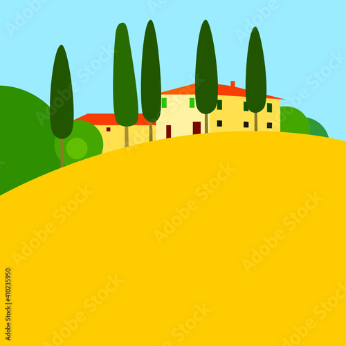 Italian Tuscany vector landscape with yellow field, green cypress trees and white red roof houses