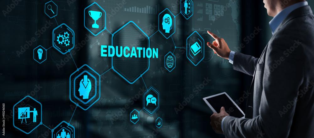 Fototapeta E learning Education Internet Webinar Online courses concept.