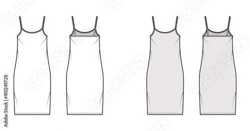 Fotografie, Obraz Camisole dress technical fashion illustration with scoop neck, straps, knee length, oversized body, Pencil fullness