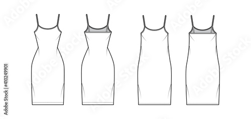 Obraz na plátně Camisole dress technical fashion illustration with scoop neck, straps, knee length, oversized, fitted body, Pencil fullness