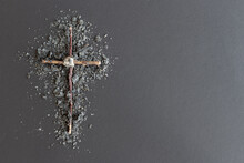 Wood Cross On Ashes