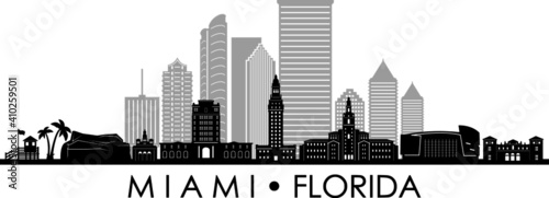 MIAMI Florida SKYLINE City Silhouette