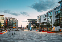 Oslo, Norway. Residential Multi-storey Houses In Aker Brygge District In Summer Evening. Famous And Popular Place.