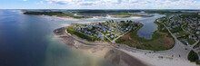 Historic Village On Little Neck Island And Pavilion Beach Aerial View Panorama At Ipswich Bay In Town Of Ipswich, Massachusetts MA, USA.