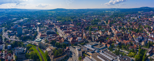 Fotografie, Obraz Aerial view of the old town of Bayreuth in Germany on a sunny day in spring