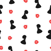 Seamless Pattern With Girls Black Silhouette And Red Roses Isolated On White Background. Drawn Victorian Lady And Flowers Texture, Vector Eps 10