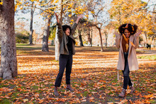 Carefree Friends Playing With Dry Leaf While Standing At Park