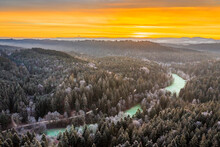 Germany, Baden-Wurttemberg, Drone View Of Swabian Forest At Winter Sunrise