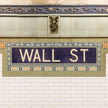 USA, New York, New York City, Wall Street Subway Sign