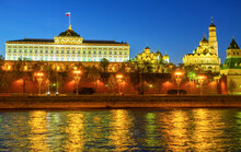 The Grand Kremlin Palace In Evening, Moscow, Russia