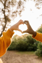 Couple Making Heart Shape With Hands At Forest