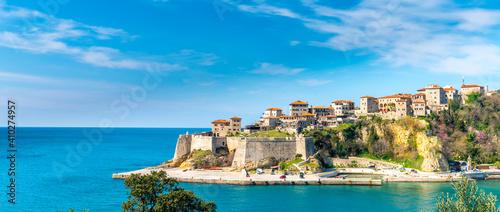 Obraz Ulcinj montenegro old town skyline view sea sommer. - fototapety do salonu