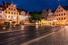 Fischmarkt At Night With Kunsthalle Art Gallery In Erfurt, Germany