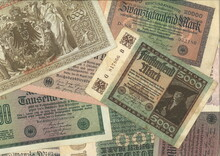Old Historic German Inflation Bank Notes. The Rentenmark Was A Currency Issued On 15 November 1923 To Stop The Hyperinflation Of 1922 And 1923 In Weimar Germany.
