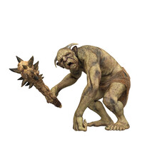 Fantasy Troll Leaning On One Hand And Holding A Spiked Club Weapon.