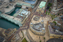 Aerial View Of Gay Pride Parade With People In Victoria Queen Square Of Hull Downtown, United Kingdom.
