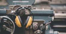 Protective Headphones Construction Tool. Protective Headphones. Professional Construction Accessory
