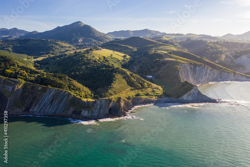 Aerial view of white cliffs on Sekoneta beach facing the Atlantic Ocean in Deba, Euskadi, Spain.