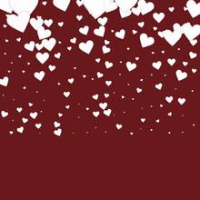 White Heart Love Confettis. Valentine's Day Gradie