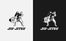 Jiu-Jitsu Logo. Two People In A Fighting Pose. Sport Logo Vector Illustration.