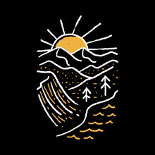 Camping Nature Adventure Wild Line Badge Patch Pin Graphic Illustration Vector Art T-shirt Design