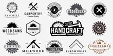 Set Bundle Carpentry Vector Logo, Design Illustration Carpenter Vintage Line Art, Hammer Steel Saws Concept